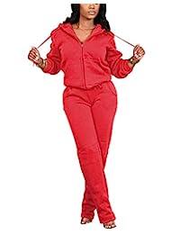 女式羊毛衬里两件套运动服 2 件套夹克连帽衫 + 紧身运动裤慢跑裤运动衫