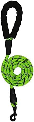 Vella 强力狗绳,带柔软衬垫防滑手柄和高度反光,适合中型和大型犬,直径 1.27 厘米,长 5 英尺,重型旋转钩,360° 旋转(*)