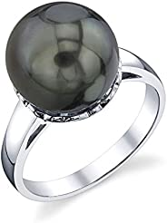 THE PEARL SOURCE 10-11mm 纯正黑塔希提南海养殖珍珠女士月桂色戒指