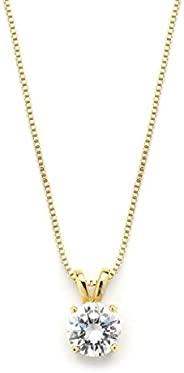 Mariell 豪华 2 克拉圆形切割方晶锆石独立钻石项链吊坠 - 14K 镀金
