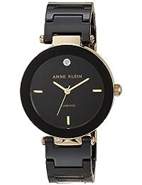 Anne Klein AK / 1018BKBK 女士陶瓷手链手表,带钻石标记,黑色/金色,均码