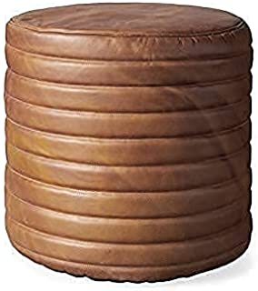 Orbit Art Gallery 圆形通道袋盖 - 矩形和大号Ottoman 皮革盖袋 - 波西米亚客厅装饰植物友好型小袋 - Hassock & Ottoman 脚凳 - 无填充 17 英寸