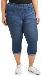 Terra & Sky 女式加大码 4X 七分裤长度柔软紧身裤,中度水洗蓝色