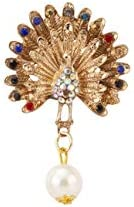 A N KINGPiiN 舞蹈孔雀 帶多色寶石和懸掛珍珠翻領別針 男女適用