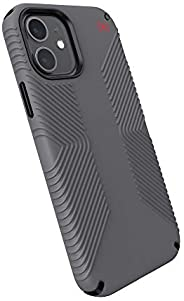 Speck Products Presidio2 Grip iPhone 12,iPhone 12 Pro 手机壳,石墨灰/石墨灰/亮红色