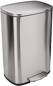 Amazon Basics 软密封垃圾桶 50 升/ 13.2 加仑(约60 升),带脚踏板 - 不锈钢,缎面镍表面