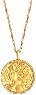 Elli by Julie & Grace 纯银星座标志处女座金钱吊坠项链,925 纯银项链,女士银链,长度17.75 英寸(约 45 厘米),