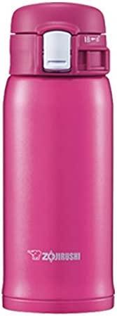ZOJIRUSHI 象印 不锈钢水杯 直饮杯 轻巧 保温保冷 一键式开启 轻量 360ml 樱桃红 SM-SD36-PV