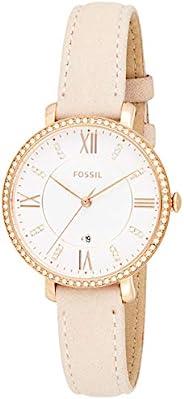Fossil 女士Jacqueline不锈钢和皮革休闲石英手表