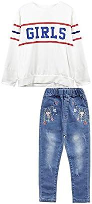 Chumhey 大女孩字母装饰白色针织套头衫花绣牛仔裤裤子套装