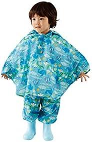Solby 雨衣 女孩 雨衣 男孩 儿童 带遮阳帽 儿童用 防水 防雨包 双肩包 上学 雨具 带便携收纳袋 淡蓝色小图案 M(90-100厘米) AASB001062202