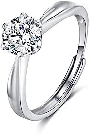 可调节纯银戒指| 1.25 克拉圆形切割莫桑石结婚戒指| 可调节戒指开口戒指适合女性妻子和女朋友