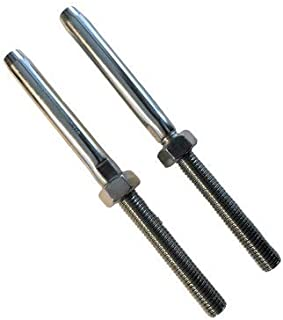 2 件不锈钢 316 Swage 螺柱 M10 螺纹端子船用级滑轮,适用于 0.48 厘米线绳电缆