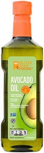 BetterBody Foods 鳄梨油,用于古法和酮制的精制食用油,Non-GMO,500毫升