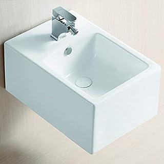 Lux-Aqua 5119-N 白色陶瓷方形壁挂式坐浴盆带纳米涂层