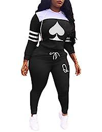 KIRJAUDU 女式 2 件套拼色条纹长袖套头连帽衫长款紧身裤运动服套装