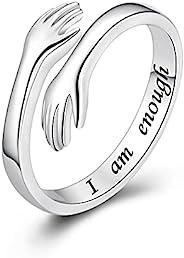 ACJFA 拥抱戒指 925 纯银抱手可调节戒指 I am Enough Ring 励志礼物 送给女孩女士
