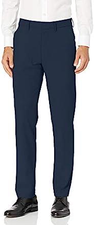 J.M. Haggar 男式弹力超柔腰修身无褶西裤 蓝色 32W x 29L