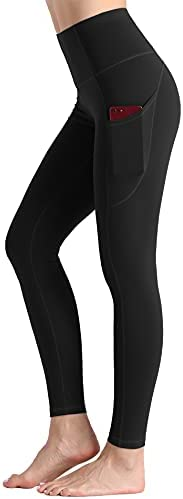 Tmustobe 女式厚高腰瑜伽紧身裤带口袋收腹锻炼跑步裤