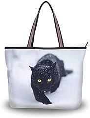 XMiCute 肩包,猫咪图案,超大手提袋,适合日常购物