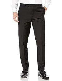 Adam Baker 男式现代修身无褶可扩展腰围正式燕尾服长裤带缎条纹和腰带环 - 无下摆