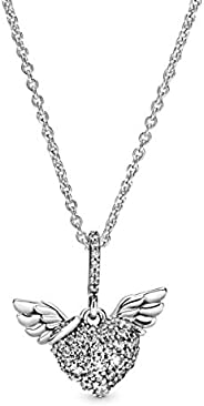 潘多拉镶钻心形和天使翅膀 925 纯银项链,尺寸:45cm,17.7 英寸 - 398505C01-45