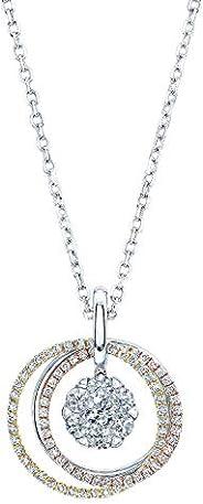 14K 三色金圆形切割钻石(总重 1.7 克拉)圆形吊坠项链