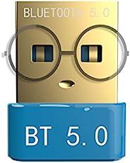 PC USB 蓝牙适配器 蓝牙 5.0 USB 微型适配器 USB 迷你 EDR 加密狗 适用于电脑桌面 无线传输支持 Windows10、8.1/8、7、Vista、XP、32/64 位(需要下载驱动程序)