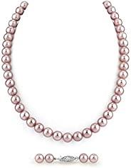 珍珠球 7-8mm AAA 品质圆形粉色淡水养殖珍珠女士项链