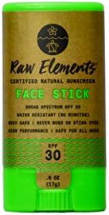 Raw Elements Face Stick 认证天然*霜   非纳米氧化锌,95% *,非常防水,防珊瑚礁*,非转*,无刺激,SPF 30+,适合所有年龄段,*,保湿,0.6 盎司