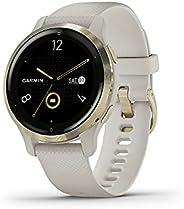 Garmin 佳明 Venu 2S 小型 GPS 智能手表 带高级*监测和健身功能 浅金色边框 带棕褐色表壳和硅胶表带 (010-02429-01)
