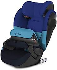 CYBEX 银色 Pallas M-Fix SL,二合一儿童汽车座椅,高靠背加高器,可调节冲击护罩,兼容 ISOFIX,组 1/2/3(9-36 公斤),约9个月-12 岁,蓝色