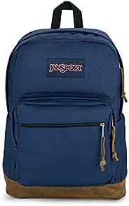 JanSport Right Pack 背包 - 学校、旅行、工作或笔记本电脑书包,麂皮绒底部带水瓶袋, *蓝, 31 Liters