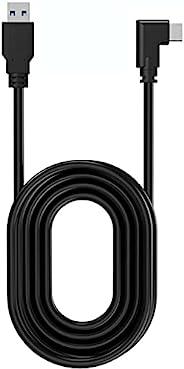 TNE Link 电缆,Oculus Quest 2 / Quest 16ft(5M)电缆,适用于PC游戏和充电 | 高速数据传输和快速充电器线,C型成角度的USB3.2 Gen1转USB A型电源线(16ft / 5m