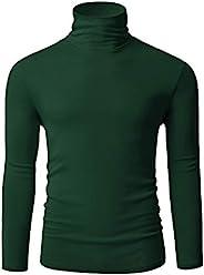 TAPULCO 男式高领长袖针织套头基本修身休闲柔软舒适 T 恤, 深*, 大