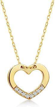 14k 纯金 0,02 克拉钻石心形链吊坠项链,惊喜精美首饰,女士,45.72 cm
