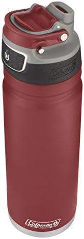 ColemanFreeFlow AUTOSEAL绝缘不锈钢水壶,Heritage 红色,24盎司/约709.76毫升