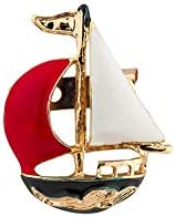 AN KINGPiiN 红色和白色金属帆船翻领别针,胸针西装铆钉,衬衫铆钉男士配饰