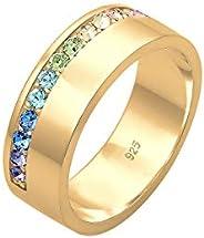 Elli 女式 925 镀银金几何施华洛世奇水晶彩虹经典戒指,尺码 O