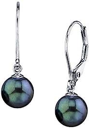珍珠 SOURCE 14K 金 AAA 质量圆形正品黑色 Akoya 养殖珍珠杠杆耳环 女式