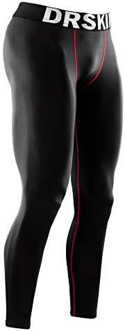 DRSKIN 男式压缩裤运动紧身裤打底裤,跑步锻炼,活力打底裤瑜伽干燥保暖冬季装备 Line Black/Red 小号