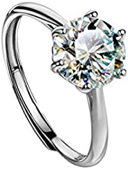 Michooyel 925 Sterling Silver Moissanite Engagement Ring D Color, VVS Clarity Band Ring 1.0-2.0ctw Fine Jewelr