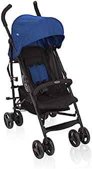 Graco TraveLite 婴儿车 轻便小巧可折叠,带躺卧位置,无级可调靠背,提手,非常适合旅行越野车,从出生至15千克,婴儿车蓝色,Caspian