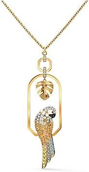 SWAROVSKI 女式热带叶子和鹦鹉设计,金色饰面,项链和耳环水晶珠宝系列