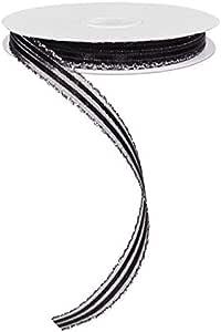 扇形边缘条纹透明丝带,无钢丝 黑色,银色 5/8 英寸 RJ202261