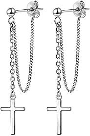 交叉吊坠耳坠,925 纯银精致十字架吊坠链耳钉,男女皆宜