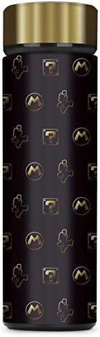 Controller Gear Super Mario Black & Gold Mario 真空绝缘不锈钢运动水瓶,防漏,宽口,17 盎司(约 481.9 克),500 毫升 -