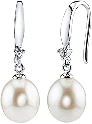 THE PEARL SOURCE 9-10mm 纯白色淡水养殖珍珠及方晶锆石 Ally 女式耳环