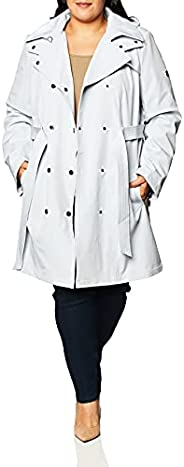 CALVIN KLEIN 女式带可拆卸帽子双排扣系腰带防水夹克