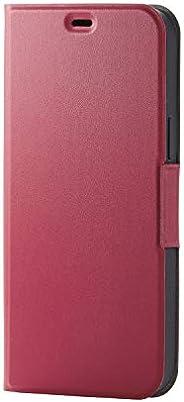 Elecom 宜丽客 iPhone 12 Pro Max 手机壳 软皮革 薄款 带磁铁 红色 PM-A20CPLFURD